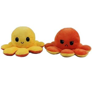 Two Sided Octopus Plush Stuffed Doll Toy Different Sides To Show Different Moods Soft Simulation Octopus Plush Toy For Kids H jllKbc