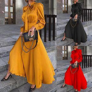 Plus size clothing for women maxi dresses for summer long-sleeved commuting temperament vestido midi elegante black dress robe