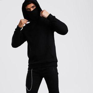 Ninja Hoodies Men Mask Cotton Oversized Hoodies Sports solid Long Sleeve Winter Hooded Sweatshirts Men Clothing Spot wholesale 201201