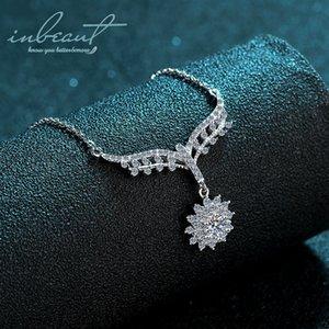 Inbeaut 925 Silver Angel Aile State Collier Chaîne Encyclopédie Test de diamant Pass Cut 0.5 CT D Moissanite Snowflake Colliers Z1126