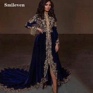 Smileven CAFTAN KARAKOU ALGERIEN формальные вечерние платья с длинным рукавом Высокий низкий бархатный золотой кружевной опеплоника вечернее платье LJ201119