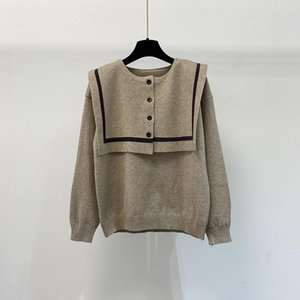 Top 2021 designer luxury women's sweater British college style navy stand collar button design stitching loose casual student women&#03