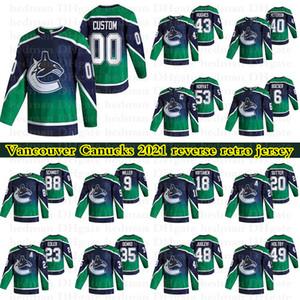 Vancouver Canucks 2021 Reverse Retro-Trikots 40 Elias Pettersson 53 Horvat 6 Boeser 43 Hughes Anpassen einer beliebigen Namenshockey-Jersey