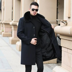 2020 New Extra Long Real Fur Collar Manteau Homme Hiver Thicken Warm Velet Lining Winter Coat Men