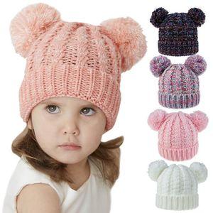 Kids Knitted Hats Crochet Pom Pom Beanies Hat Woven Lovely Twin-Ball Girls Caps Warm Stretchy Cap Children Woolen Knitt Hats OWC4198