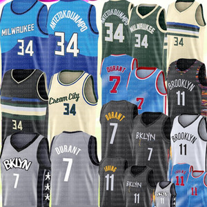 Neue Giannis 34 AntetokounMpo Jersey Kevin 7 Durant Jersey Kyrie 11 Basketball Irving Trikots Mens Stickerei Jersey S-XXL