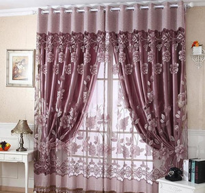 simple and modern, rich and beautiful, beautiful and romantic, jacquard, burnt, half-shade, easy to install finished curtain