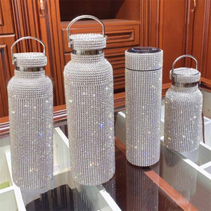 350ML 500ML 750ML Diamond Thermos Bottle Water Bottle Stainless Steel Sparkling Vacuum Flask Tumbler Mug Thermocup for Gift 201221