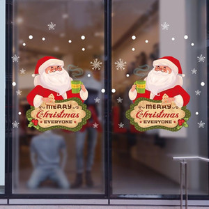 Cartoon Santa Claus Snow Wall Stickers New Year Festival Decorative Merry Christmas For Livingroom Showcase Wall Decal Stickers