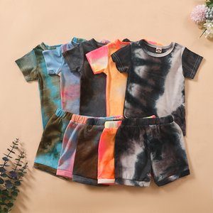 kids Clothing Sets girls boys outfits children Tie dye Pit stripe Tops+shorts 2pcs set summer fashion Boutique baby Clothes Z2034