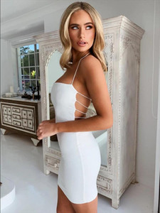 2020 Hot Sexy Women Summer Hollow Out Bandage Crop Tops Dress Sexy Ladies Sleveless Evening Party Clothes