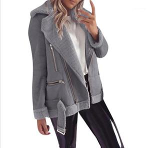 ملابس الشارع الشهير الخريف الشتاء المرأة مصمم جاكيتات البريدي الرقبة فضفاضة كرادة قميص طويل الأكمام