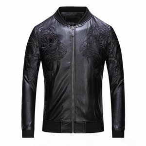 New casual winter men's leather jacket fashion men's PU long sleeve leather solid motorcycle men's jacket