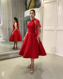 Tea Length Short A Line Red Prom Dresses Sleeveless Graduation Party Bride Special Occasion Gowns Cheap Homecoming Dress