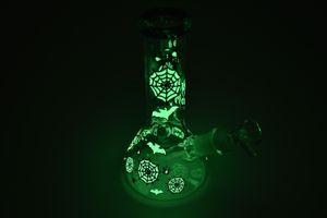 8-дюймовый 20 см сортированный цвет Multi Glow в темном замке стекло стакан бонг кальян водопроводная труба стекла бутылки с водой, бутылка для воды zeb ассорти