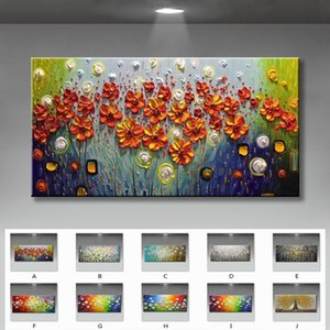 Beautiful flowers for home decorations 100% Handmade abstract canvas oil Paintings wall art Pictures for living room no framed Z1202