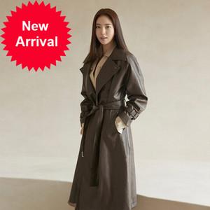 Dalian Plant Southorean Female Stars Stars Brand British MS Long Long Flow PU Cuero Trench Coat