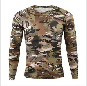 Outdoor tattooed quick-dry T-shirt round collar fast dry long sleeves sports cycling tight sweating comfortable couple camouflage long sleev