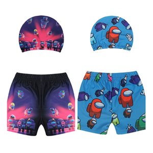 Kids Boy Girls Swim Trunks Among Us Game Swimsuit Cartoon Anime Cute Swimwear Shorts Wave Cap 2 Piece Set Swimming Bathing Suit CZ122801