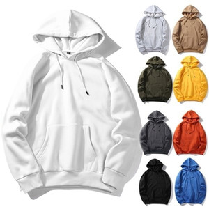 Autumn Mens Fleece Hoodies Hip Hop Pure Hoodies Warm Velvet Fabrics Winter Hoodies Brand Men Sweatshirts White Clothing 201126