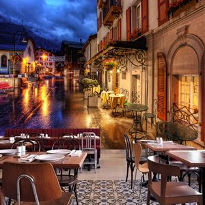 European Town Street Night Landscape Mural Restaurant Clubs KTV Bar Background Wall 3D Wallpaper Fashion Decor Papel De Parede