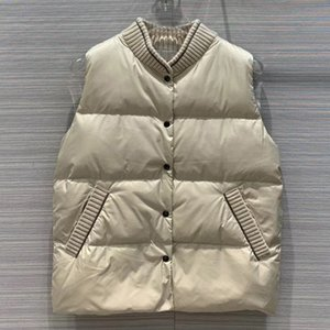 2020 New Ladies Fashion Sleeveless Sexy Casual Cashmere Stitching Goose Down Vest Brand New Design Female Vest 1121