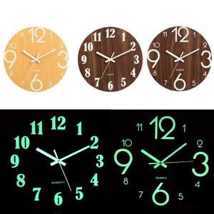 Digital Number 3D Silent Glow Dark Luminous Hanging Acrylic Brief Quiet DIY Wall Clock Modern Q1124