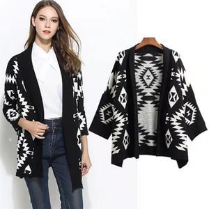 Street style retro versatile diamond jacquard autumn winter women sweater loose V - neck shawl knit cardigan coat