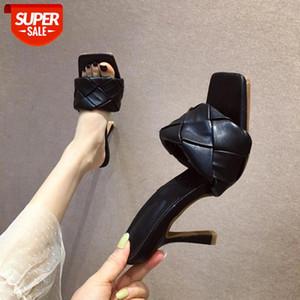 Neue Marke Design Schuhe Frau Slipper 2021 Sommer quadratische Zehe High Heels Sandalen Frauen Webart Gute Qualität Kleid Schuhe Weiß Blau # ZD6C