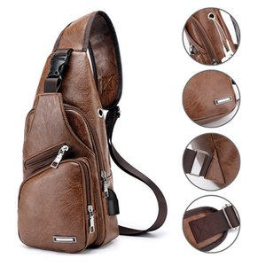 Men's Chest Bag Men Leather Chest Pack USB Backbag With Headphone Hole Functional Travel Organizer Male USB Sling Bag