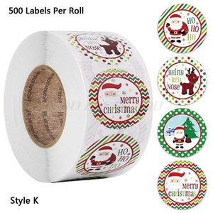 500pcs Round 4 Designs Merry Christmas Thank You Stickers Seal Labels for Envelope Cards Gift Package Scrapbooking Decor