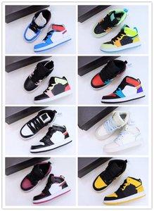 Chaussures de basketball de bas de basketball multicolore Noir Blanc Blanc Mid AJS 1 Garçon Journée de la fille 22-37