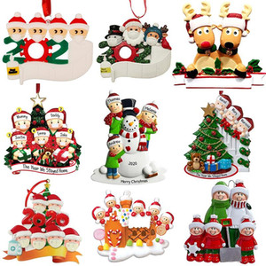 New Christmas Personalized Ornaments Survivor Quarantine Family 2 3 4 5 6 Mask Snowman Hand Sanitized Xmas Decorating Creative Pendant Toys