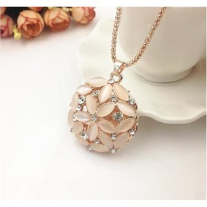 Hot Sweater Chain Stone Necklaces Pendants New Jewelry Rose Flower Cross Cat Eye Gem Stone Owl Austrian Crystal jllzwq bdecoat
