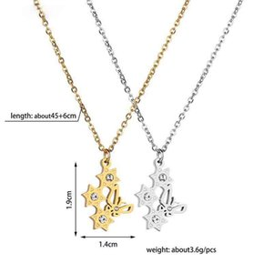 Stainless Steel Butterfly Crystal Stars Necklaces & Pendant Statement Necklace for Women