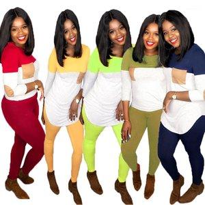 Setleri Uzun Kollu Mürettebat Boyun Tshirt Ince Pantolon Bayanlar İki Parçalı Setleri Kadınlar Pachwork Spor