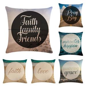 45*45cm Beach Cushion Amazing Grace for Sofa Home Decorative Throw Pillow Case Cotton Linen Couple Pillowcase Capa Almofada