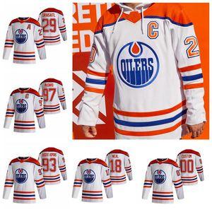 2021 Обратный ретро Edmonton Oillers Hockey Jerseys 56 Kailer Yamamoto Tyson Barrie Evan Bouchard Philip Broberg Caleb Jones Custom Shift