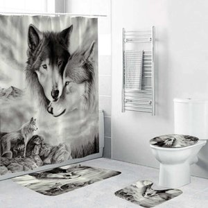 180x180cm 1Pc 3Pcs 4Pcs White Wolf Dream Catcher Wolf Eyes With 12 Hooks Bathroom Shower Curtain Toilet Mat Lid Rug Curtain Sets Z1127