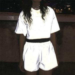 Reflective Light Tracksuits Set Bling Luminous T Shirts Shorts Femme Hiphop Cool Womens Outfits Elastic Waist Matching Sets