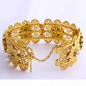 K New Luxury Women Big Wide Bangle 70mm Carve Thai Baht Gold Gp Dubai Style African Jewelry Open Bracelets With Cz For Middle