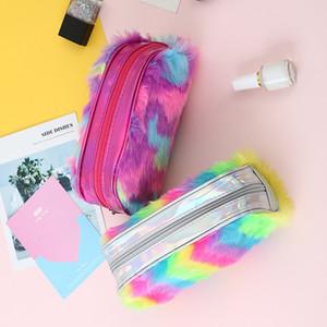 Gökkuşağı Renk Kalem Kalem Durumda Öğrenci Peluş Yüksek Kapasiteli Kırtasiye Bayanlar Makyaj Çocuk Saklama Çantası Debriyaj Çanta Yeni Desen 7SM F2