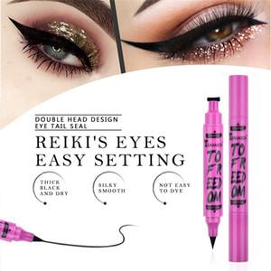 Hot 2In1 Black Eyeliner Pencil Makeup Stamp Liquid Seal Pen Waterproof Quick Dry Double-Headed Thin Wing Eye Makeup Cosmetic