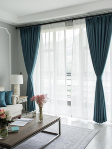RZCORTINAS BLANKOUT Rideaux pour salon Chambre à coucher de luxe Coton épais Rideau de lin de coton Solide Bleu Grey Drapes Fenêtre Décoration de la maison