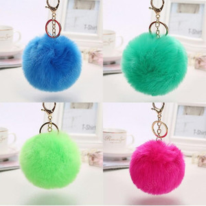 8cm Rabbit Fur Ball Keychain Fur Ball Lovely Gold Metal Key Chains Ball Pom Poms Plush Keychain Car Keyring Bag Accessories