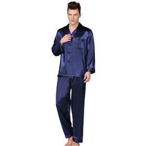 Men's Stain Silk Pigiama Set Set Men Pigiama Silk Sleepwear Uomini Sexy Style Modern Style Soft Cozy Satin NightGown Uomini Estate