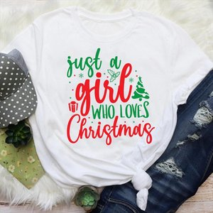 Women Letter Cheer Cute New Year Happy Time Holiday Merry Christmas Graphic Tees Clothes Print Tops Lady Female T Shirt T Shirt