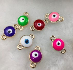 DIY accessories Round Drip oil CCB Turkey Evil Blue Eyes charm Beads ilver gold Size 1.7X1.0X0.35cm FIT Bracelet Necklace earrings