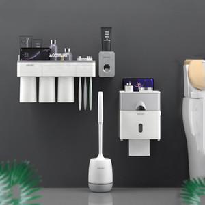 Tissue Box Toothbrush Holder Toothpaste Distributor Toilet Paper Holders Toilet Brush Wall for Bathroom Accessories Set