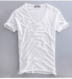 2020 summer casual T shirt pure cotton slub breathable retro solid color V neck short sleeve Drop Shipping